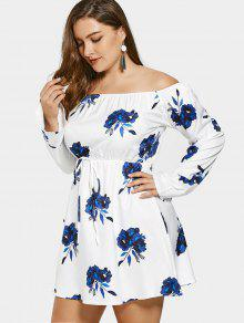 5bec186705b 30% OFF  2019 Off Shoulder Floral Drawstring Plus Size Dress In ...