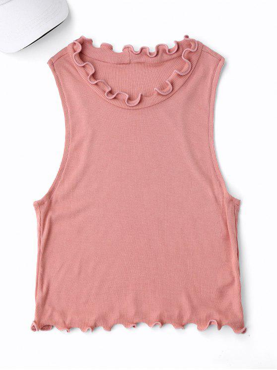 best Cropped Ruff Collar Sporty Top - PINK ONE SIZE