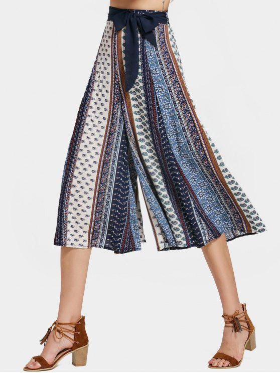 Pantalones de pantalón ancho bohemio impreso pantalones - Multicolor L