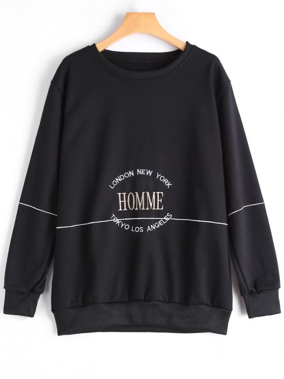 Letter Embroidered Sweatshirt - Black S