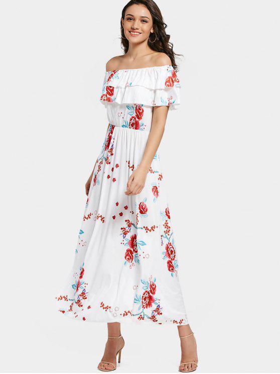 Aus Schulter Tiered Flounce Floral Maxi Kleid - Weiß 2XL