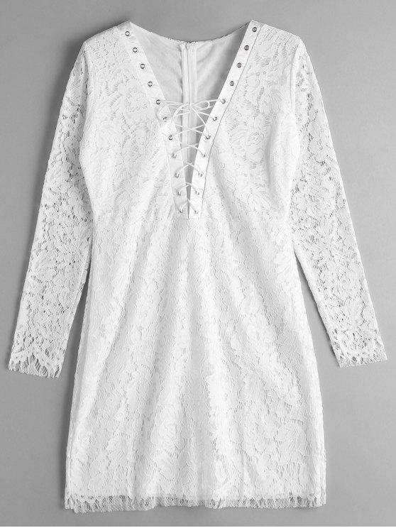 Robe en dentelle en dentelle - Blanc XL