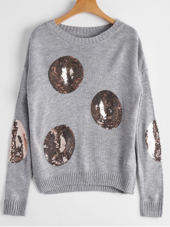 Drop Schulter Runde Sequined Pullover - Grau Eine Größe