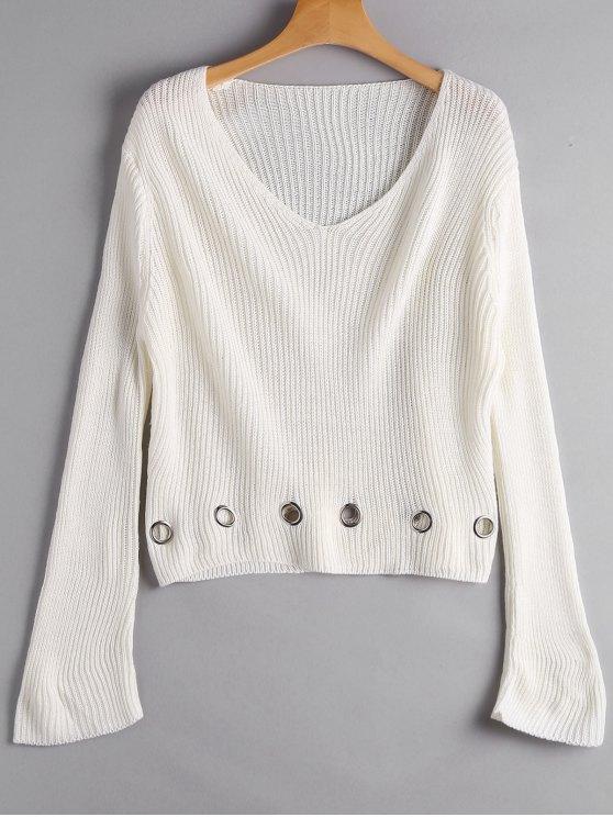 Unbeschwertes Chunky Pullover - Beige (Weis) Eine Größe