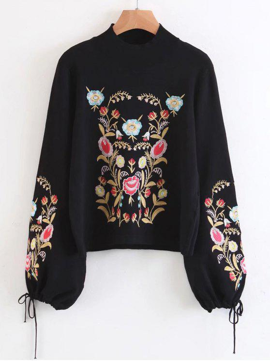 outfit Mock Neck Flare Sleeve Floral Embroidered Sweater - BLACK S