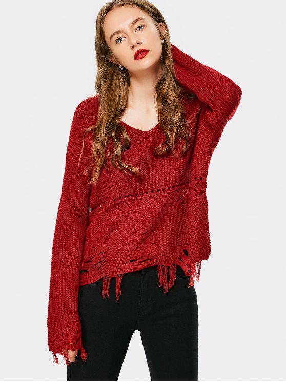 Gerippter Pullover mit V-Ausschnitt und Quaste - Rot Eine Größe