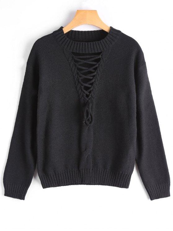 Кружева экипажа шеи свитер - Чёрный Один размер