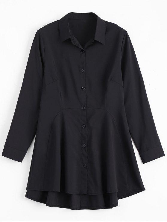 ed140ed0 27% OFF] 2019 Button Up Long Sleeve Plain Shirt Dress In BLACK | ZAFUL