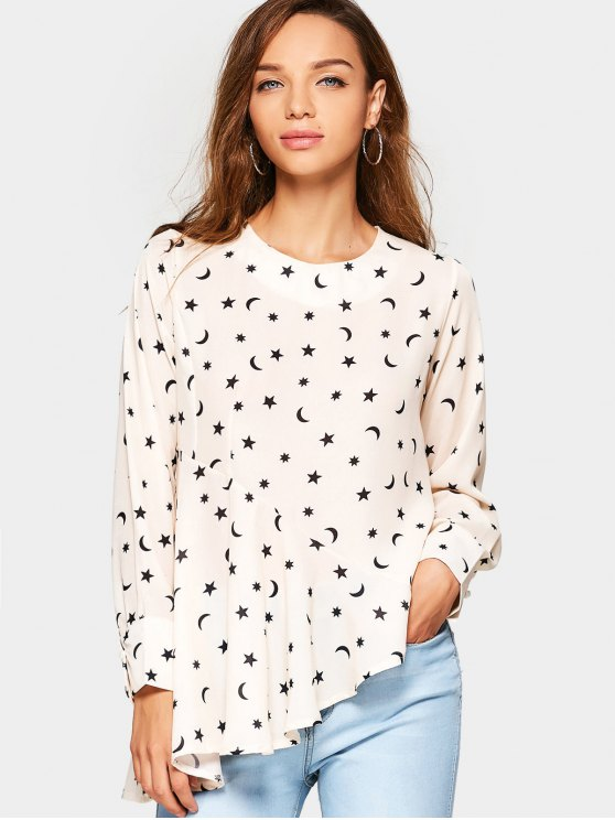 latest Star Moon Print Ruffles Asymmetric Blouse - BEIGE L