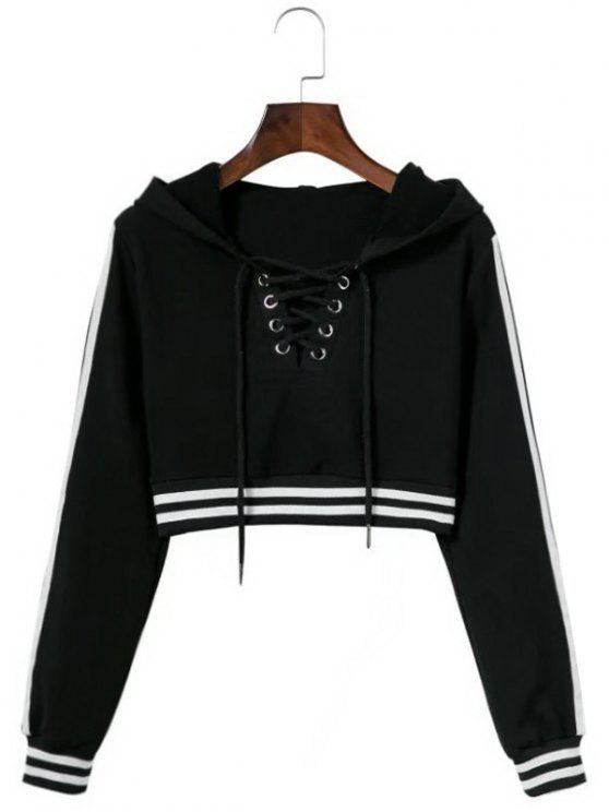 women Striped Cropped Lace Up Hoodie - BLACK M