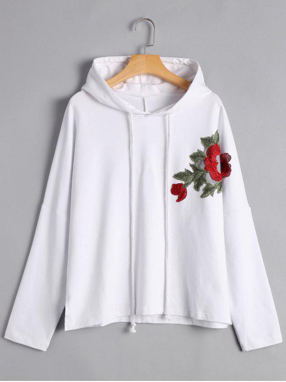 shop Pullover Floral Applique Hoodie - WHITE M