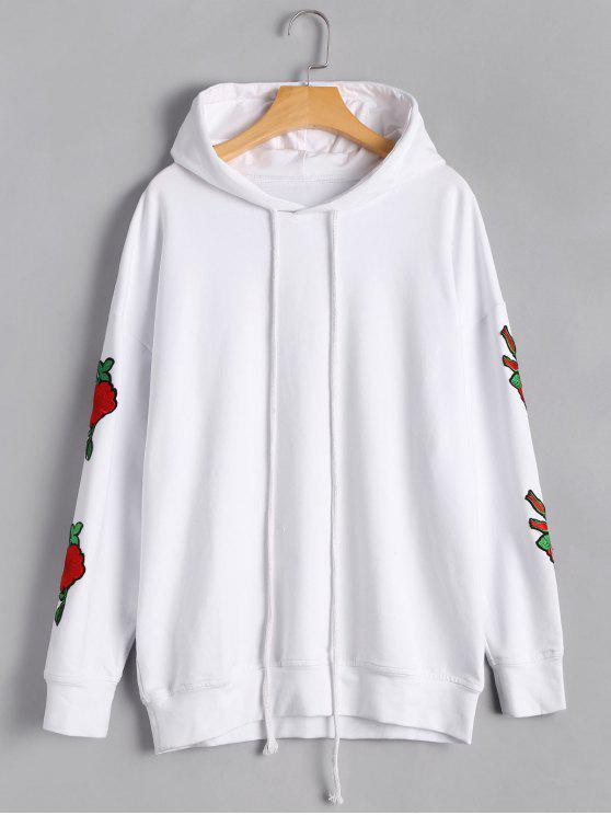 chic Casual Floral Applique Pullover Hoodie - WHITE S