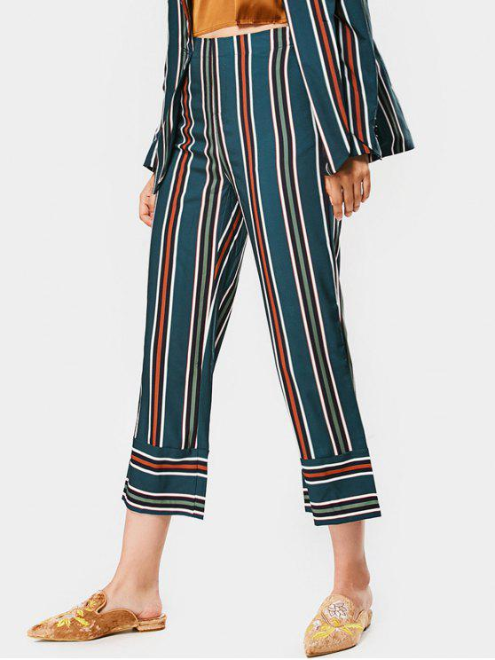 latest High Waisted Stripes Ninth Straight Pants - STRIPE S