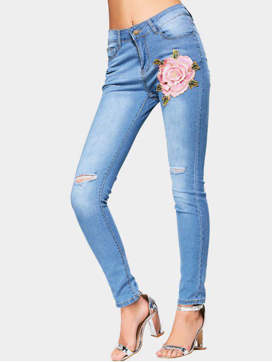 Flor remendada alta cintura rasgada Jeans - Azul Claro M