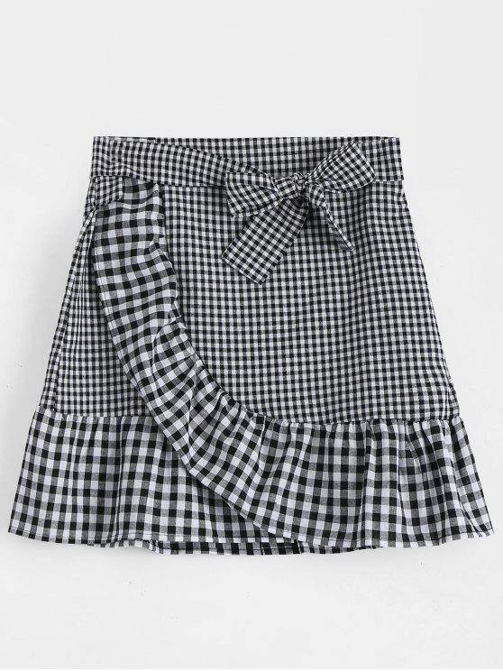 Belted Bowknot Ruffle Hem Checked Skirt - Black Xl