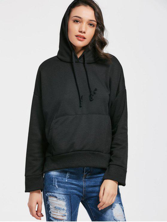 trendy Pocket Side Slit Letter Print Hoodie - BLACK L