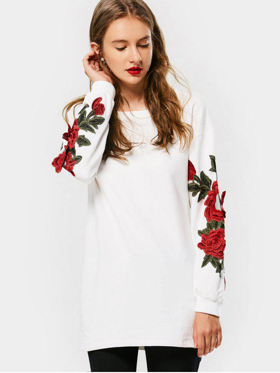 ladies Long Floral Embroidered Patched Sweatshirt - WHITE L