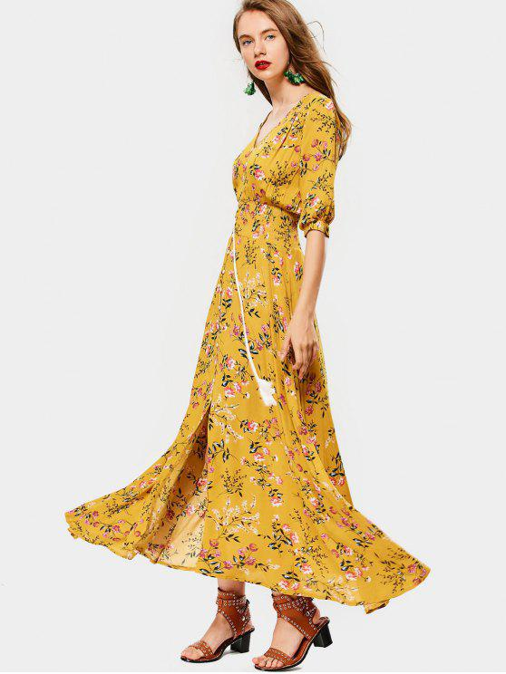 trendy Belted Slit Button Up Floral Maxi Dress - YELLOW M