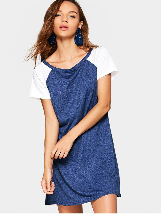 Vestido manga raglan dois tons - Azul Escuro L