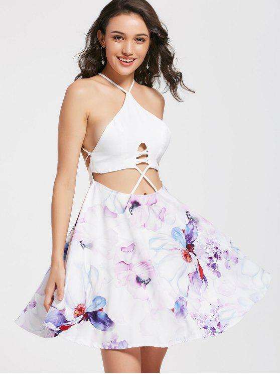Clubkleid mit Blumendruck und Kreuzgurte am Rücken - Blumen L