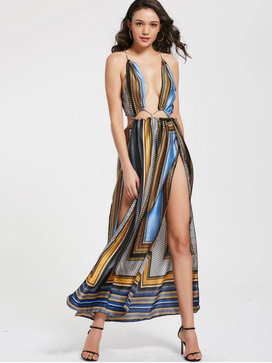 fancy Printed Plunging Neck High Slit Maxi Club Dress - COLORMIX XL