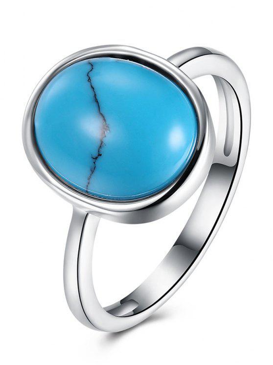 buy Bohemian Faux Gemstone Oval Ring - SILVER 9