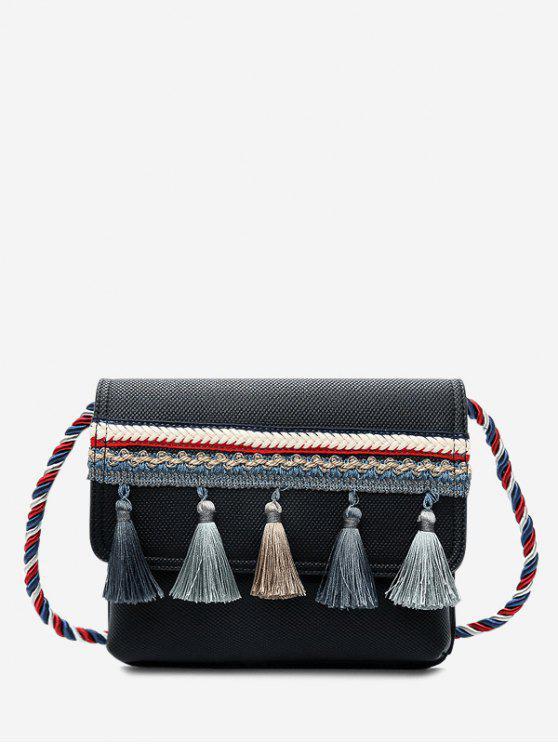Tassel Color Blocking Strap Crossbody Bag - Noir