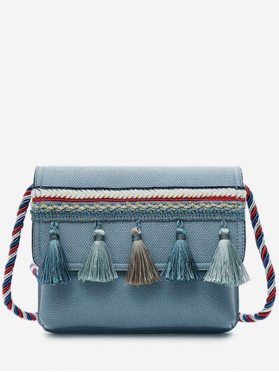 Tassel Color Blocking Strap Crossbody Bag - Azul