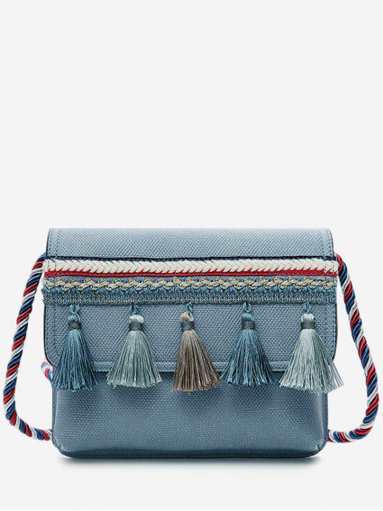 Tassel Color Blocking Strap Crossbody Bag - Bleu