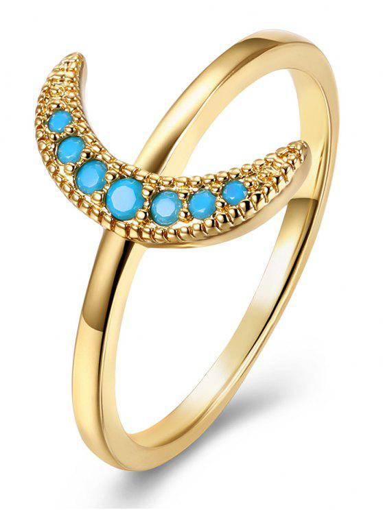 Faux Gem Circle Moon Finger Ring - Or 7