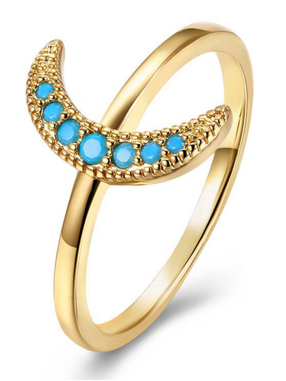 Faux Gem Circle Moon Finger Ring - Dourado 8