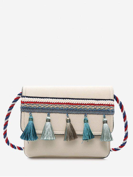 shops Tassel Color Blocking Strap Crossbody Bag - OFF-WHITE