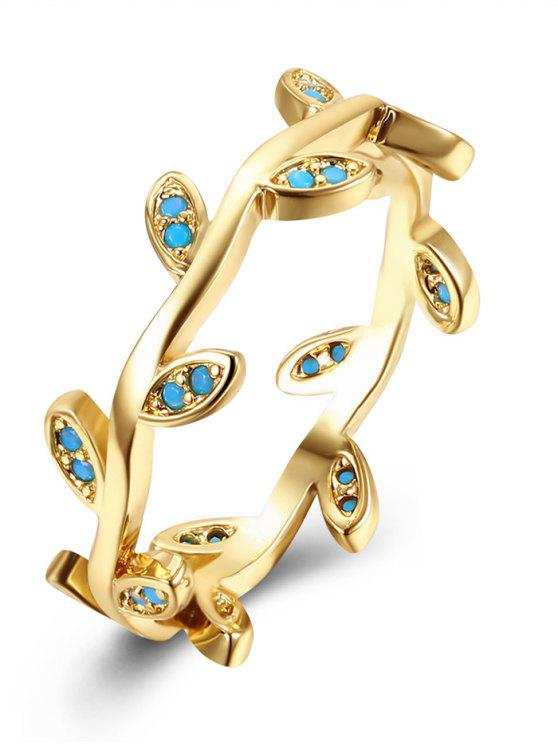 fancy Bohemian Leaves Finger Circle Ring - GOLDEN 9
