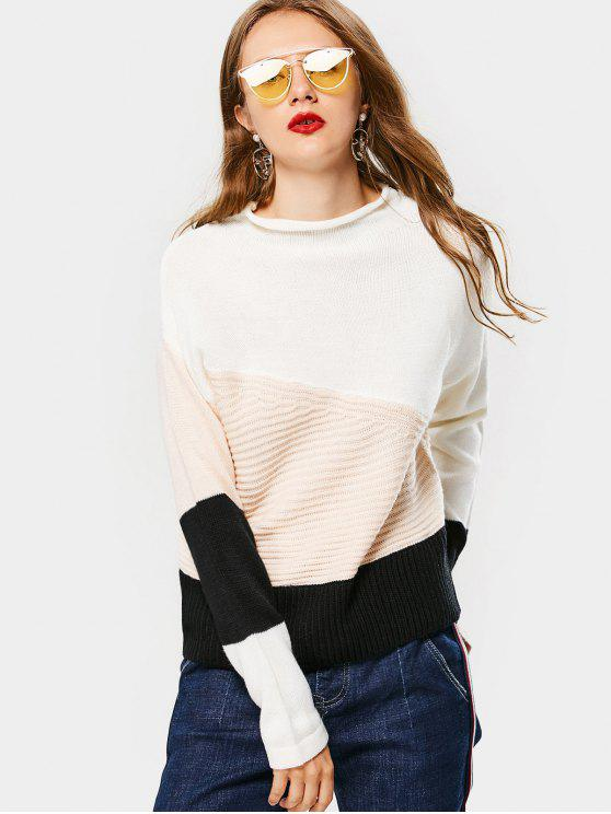 sale Color Block Mock Neck Sweater - BLACK ONE SIZE