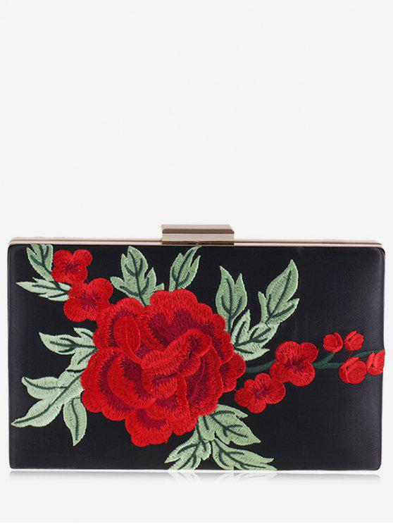 buy Floral Embroidery Clutch Bag - BLACK