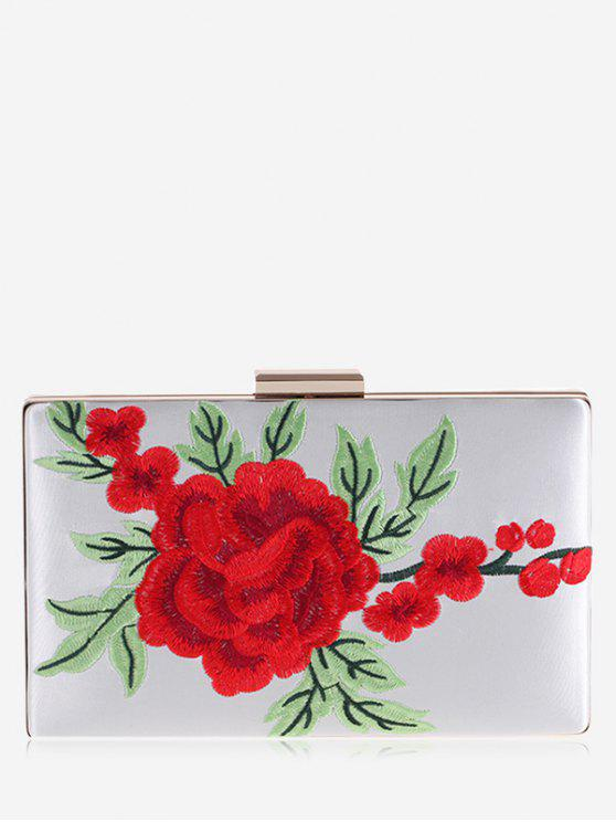 women Floral Embroidery Clutch Bag - WHITE