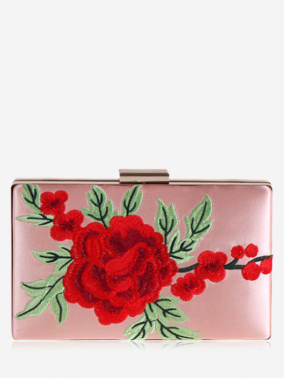 ladies Floral Embroidery Clutch Bag - PINK