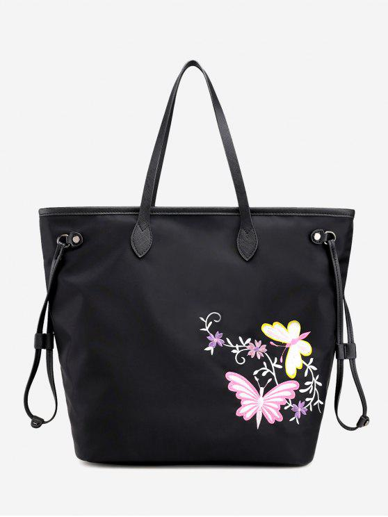 hot Floral Embroidery Drawstring Shoulder Bag - BLACK