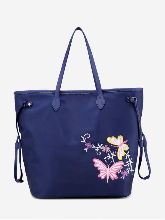 Umhängetasche mit Kordelzug und Blumenstickerei - Blau