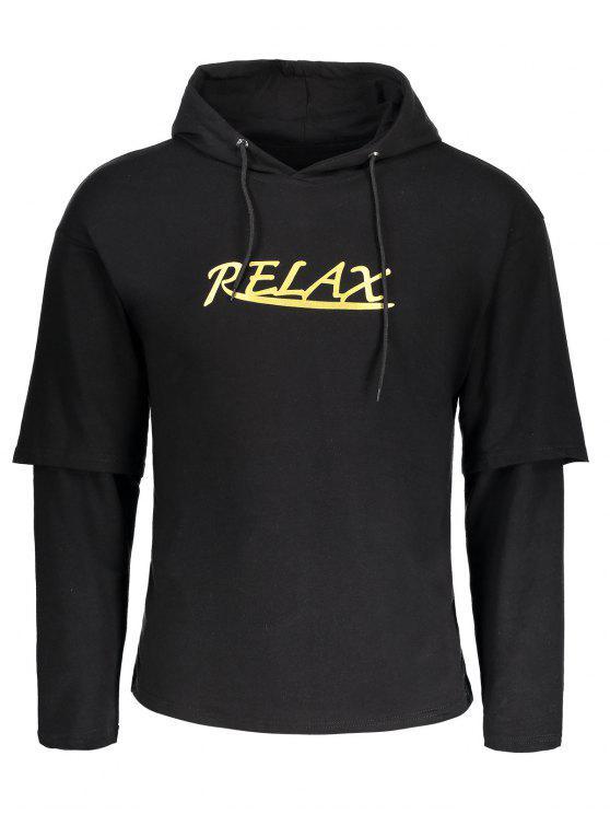 Drawstring Relax Graphic Hoodie - Noir 3XL