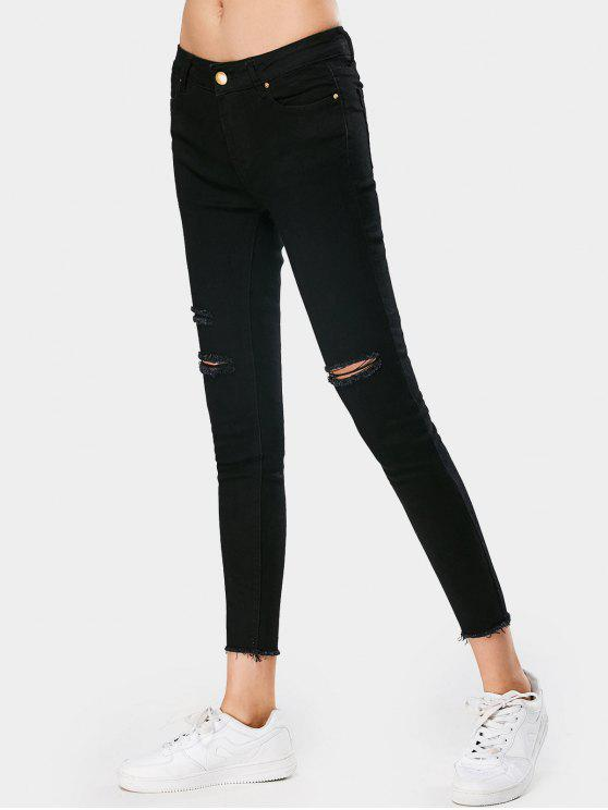 Pantalones vaqueros deshilachados delgados del lápiz elástico - Negro L