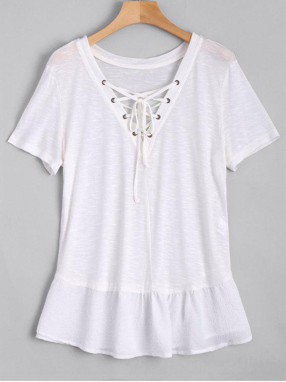womens Ruffles Lace Up Casual Top - WHITE S