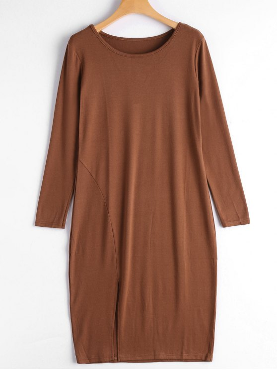 outfits Slit Long Sleeve Dress - BROWN M