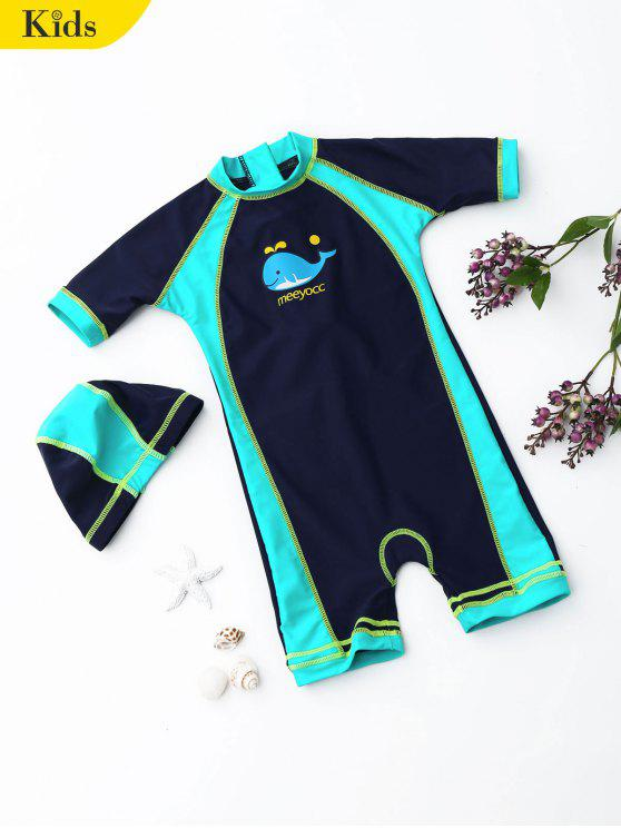 chic Kids Color Block Rash Guard with Swim Cap - PURPLISH BLUE 7T