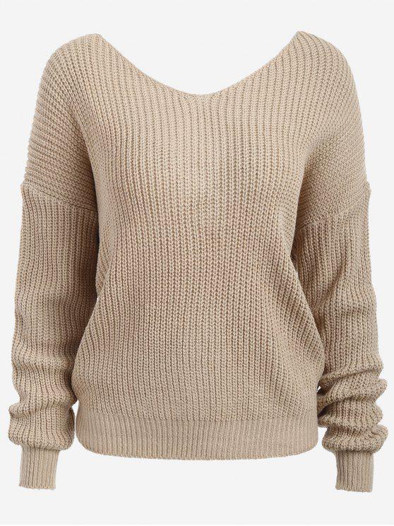 Twist V Neck Chunky Pullover - Aprikose Eine Größe