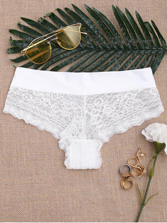 الدانتيل انظر من خلال سراويل مثير - أبيض XL