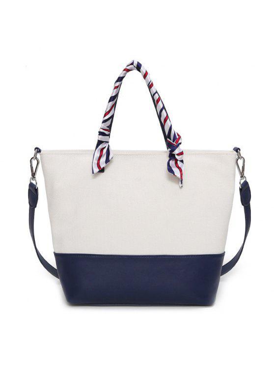 الشريط مزين اللون كتلة حمل حقيبة - أزرق