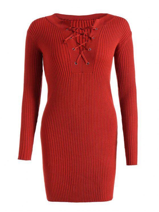 Fitted Lace Up Pullover Kleid - Roter Zirkon Eine Größe