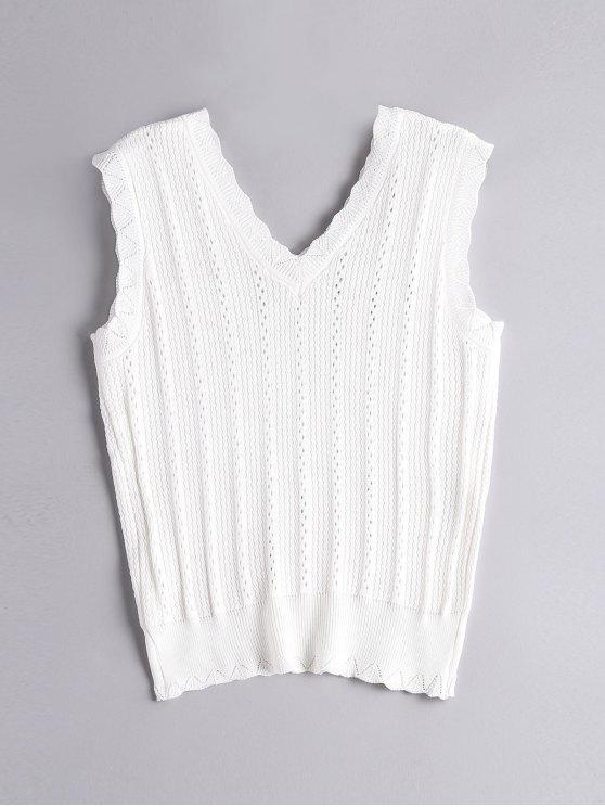 Hecho punto ahueca hacia fuera la camiseta sin mangas - Blanco Única Talla