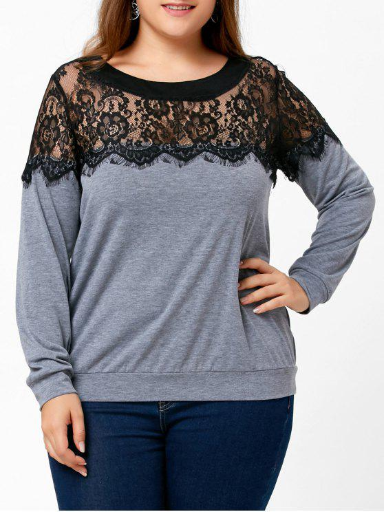 Lace Panel Plus Size Two Tone Top - Cinzento XL